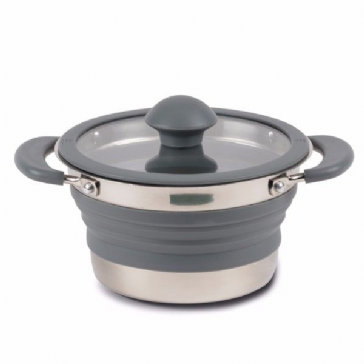 Kampa Folding Saucepan 1 L Grey Collapsible Camping Saucepan